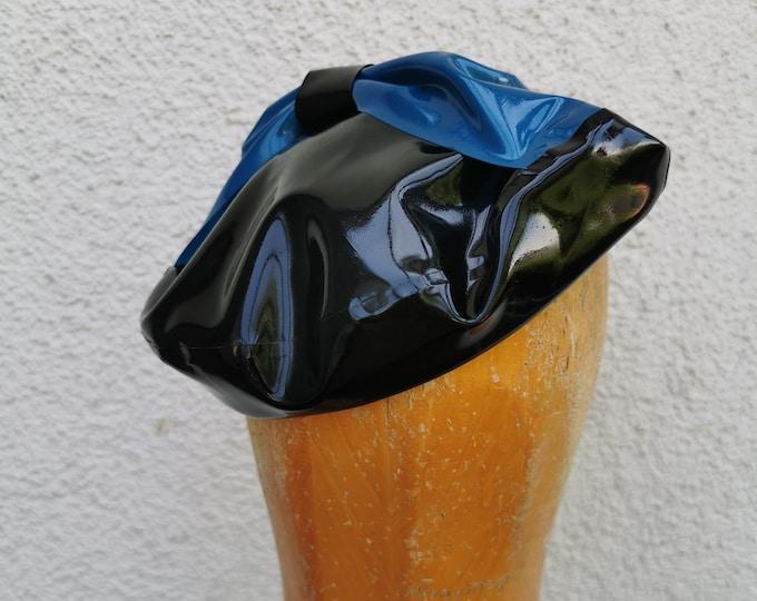 Latex beret 'Bow- Blue' - sample piece