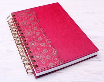 Red lined notebook / red journal / spiral bound notebook / recycled notebook / eco friendly journal / writing journal / travel journal