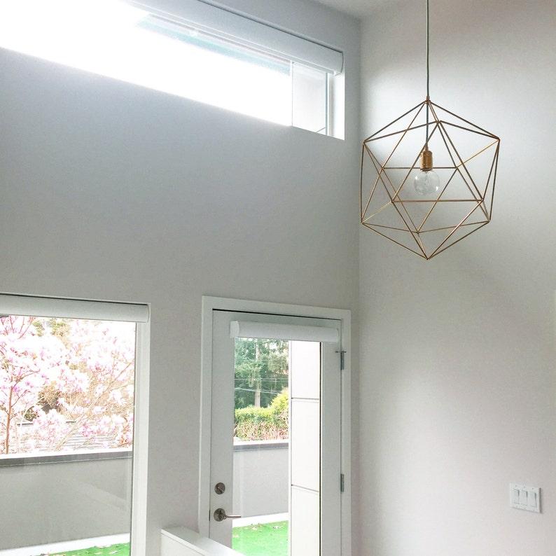 buy popular 28655 17536 Extra large modern geometric enteryway chandelier lighting - brass pendant  cage - bedroom ceiling light fixture - modern home decor - ICOS25