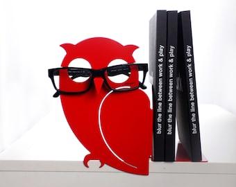 Metal owl bookend glasses holder - Modern animal book eyeglass stand - red bird shelving decor - Unique book lover gift for girls - ZIGMOND