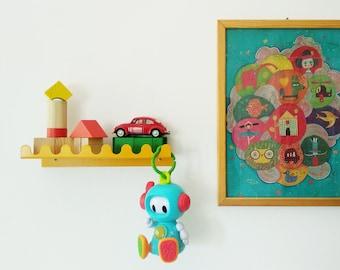 Kid's room metal hook shelf