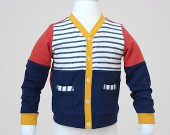 Cardigan PDF Sewing Pattern & Tutorial, color block, pockets, grandpa cardigan, boys, girls, babies, toddler, kids