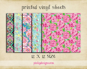 12x12 Lilly Inspired Vinyl Sheets | High Quality Indoor/Outdoor Adhesive Vinyl | Large Print or Tiled | Printed Vinyl | Lilly Pulitzer