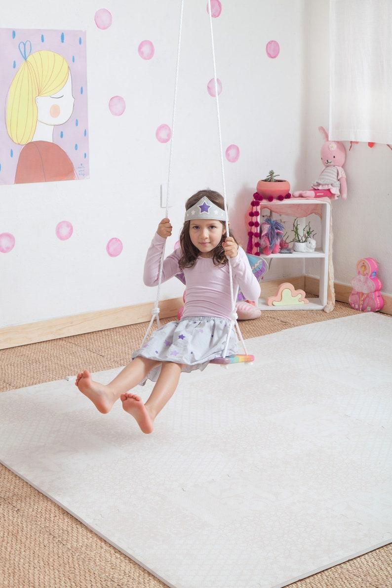 Pastel Rainbow Indoor Tree swing / Children wood swing / image 0
