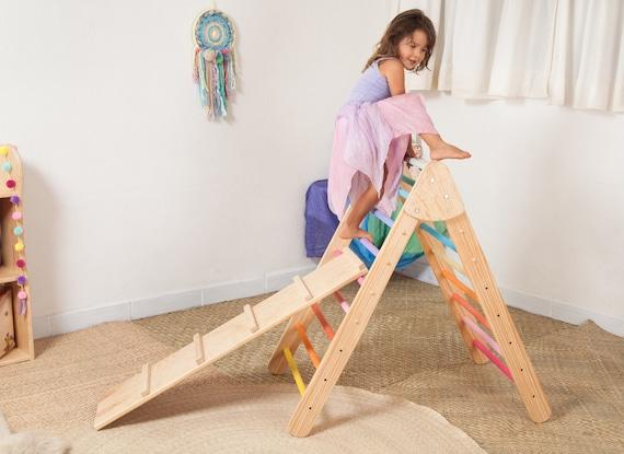 Kletter Dreieck Pikler : Kleinkind klettern dreieck mit rampe faltbare regenbogen etsy
