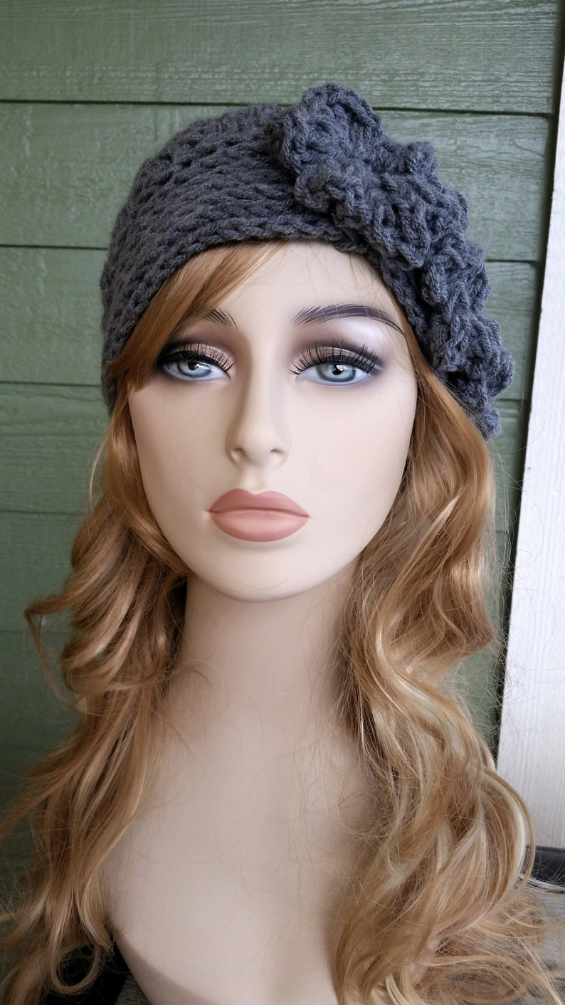 a9ff21da2c42c Pink Crochet Hat With Flowers Womens Crochet Hat Flower Beanie