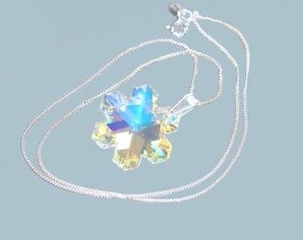 Sterling Silver Swarovski Crystal Snowflake Pendant/Necklace