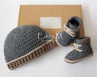 Cute New Baby Boy Blue Booties Whales Gingham Embroidery Bow Present Shower Gift