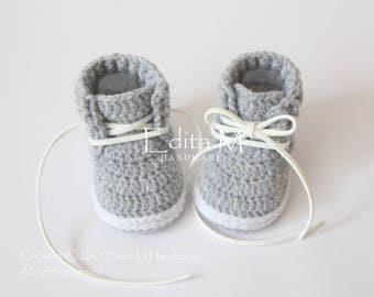 7958781aafad Crochet baby booties, crochet baby shoes, unisex baby booties, baby  trainers, white, grey sneakers, gift for baby, 0-3, 3-6, 6-9 months
