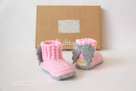 best shoes pretty cool hot sale Gehäkelte Babyschuhe, Engelsflügel, Baby-Schuhe mit Flügeln, 0-3, 3-6, 6-9  Monate, rosa, grau, grau, Baby-Dusche, Geschenk für Baby Ankündigung