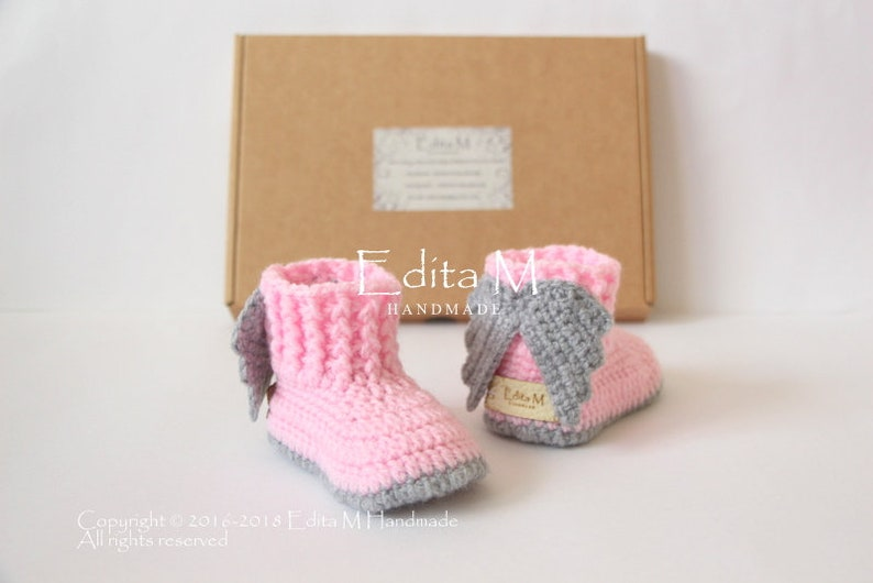 e814ca0f585 Crochet baby booties angel wings baby shoes with wings 0-3