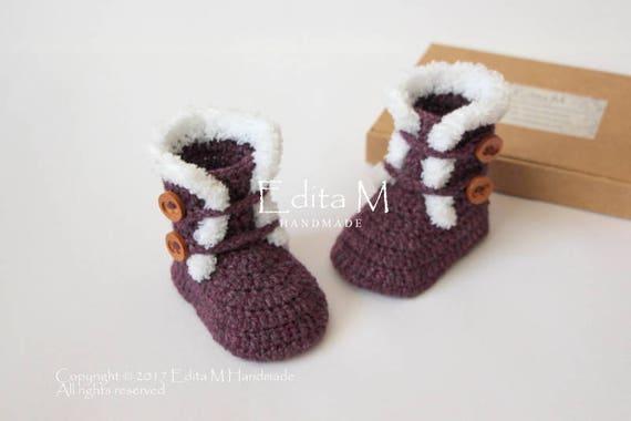 Mitten Booties Set 0-3// 3-6// 6-9 Months New Hand Knitted Burgundy Baby Bonnet