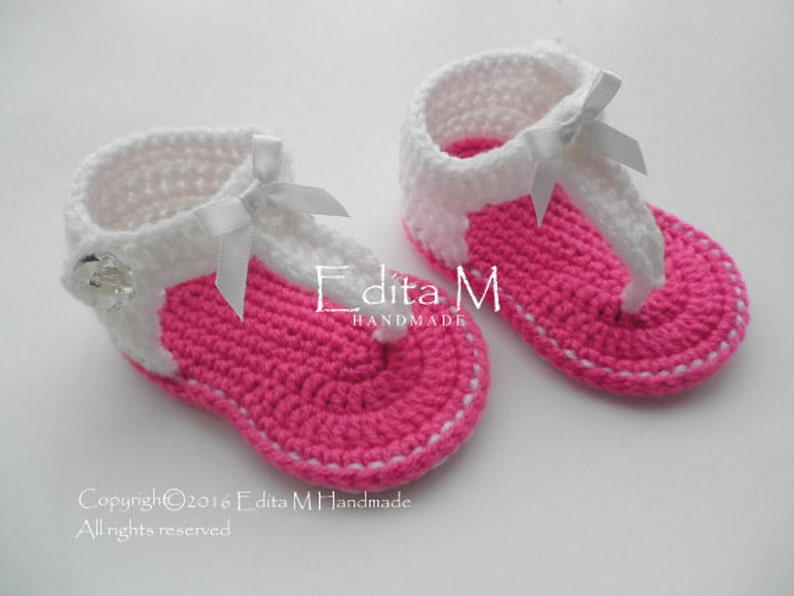 46ef268abb545 Crochet baby sandals, gladiator sandals, baby girl slippers, baby booties,  shoes, white, pink, fuchsia, gift for baby, summer shoes