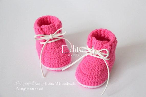 price reduced great fit sale online Häkel-Booties, Babyschuhe, Stiefel, Baby-Girl-Turnschuhe, heiße rosa  Schuhe, 0-3, 3-6, 6-9 Monate, Geschenk für Baby, Baby-Dusche, Ankündigung