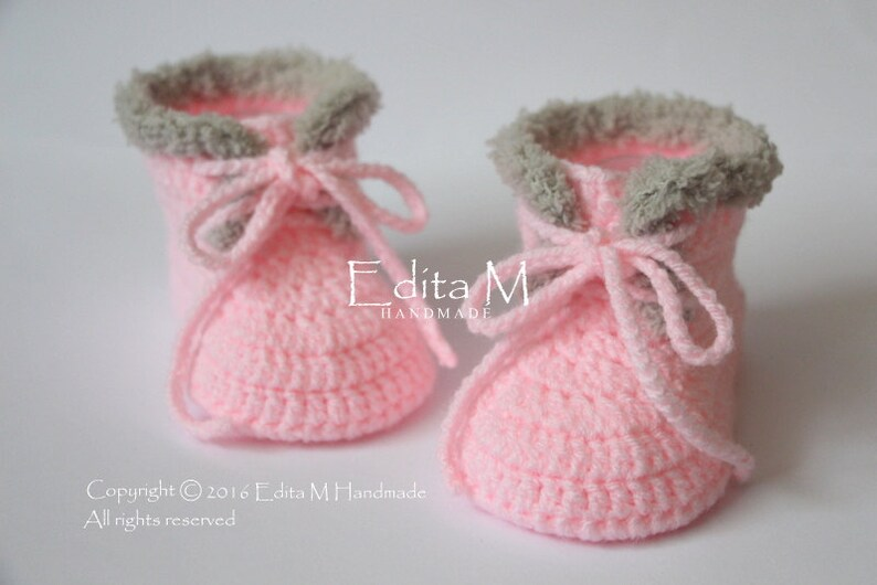 7ae9ccd5cd45c Crochet baby booties, knitted baby girl shoes, baby boots, sneakers, pink,  0-3, 3-6, 6-9 months, baby shower, gift for baby, announcemen