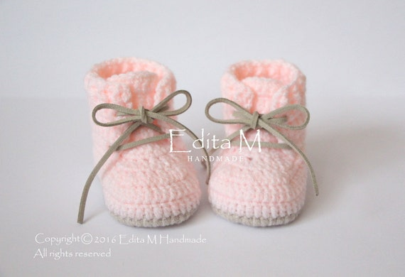 337feedc3e642 Crochet baby booties, baby boots, baby sneakers, baby girl shoes, 0-3, 3-6,  6-9 months, peachy pink, beige, baby shower gift, announcement
