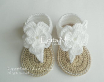 Crochet baby sandals, baby gladiator sandals, baby booties, baby shoes, 9-12 months, baby  gift idea, white, tan,baby girl
