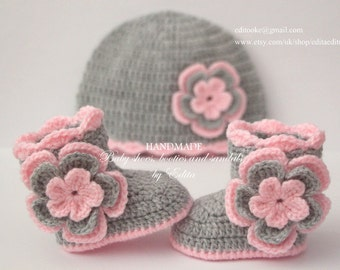 Crochet baby girl set, baby booties, hat, baby shoes, boots, beanie, 0-3,3-6 months, baby shower, gift for baby, new mom, announcement