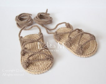 Crochet baby sandals, gladiator,booties, shoes,baby slippers, flip flops, baby boy, baby girl, tan, 9-12 months, summer shoes,gift idea