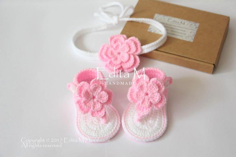 94a74c18a Crochet Baby Set sandalias y diadema sandalias de gladiador | Etsy