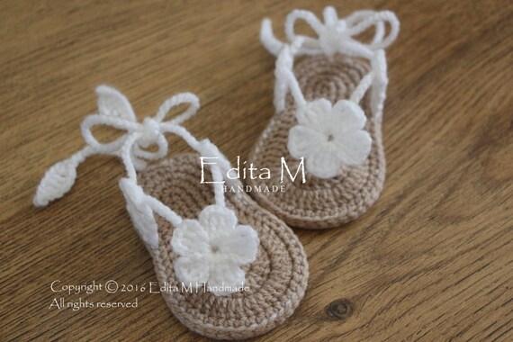 6b2900d34d2 Crochet baby sandals baby slippers flip flops gladiator