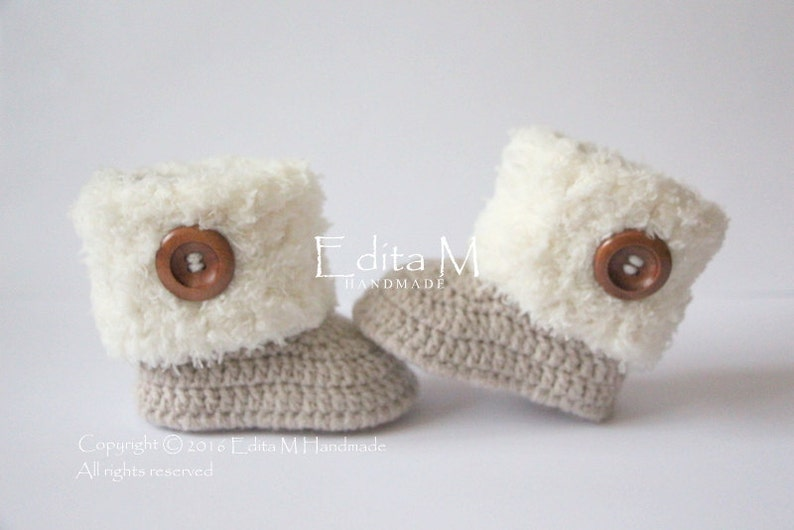 Sale Crochet Baby Booties Baby Shoes Unisex Booties Wooden Etsy