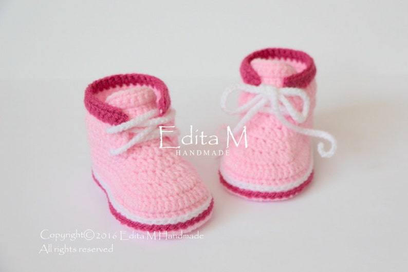 aeafe9c96a8e3 Crochet baby booties, baby shoes, boots, baby girl sneakers, pink, 0-3,  3-6, 6-9 months, baby shower, announcement, reveal, gift for baby