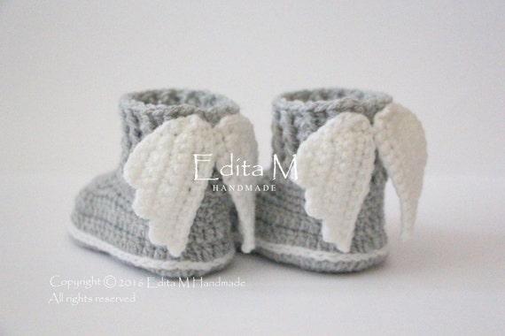 Unisex Babyschuhe Häkeln Baby Schuhe Stiefel Engelsflügel Etsy