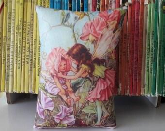 Flower Fairies pillow - The sweet pea fairy - fairies gift - girls room decor - vintage illustration - nursery gift - new mum gift
