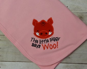 This Little Piggy Says Woo Pink Knit Cotton Baby Receiving Blanket - Razorback Baby Blanket - Knit Baby Blanket - Razorback Blanket