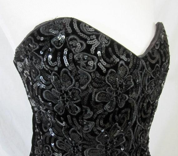 Vintage 1980's Gunne Sax Black Velvet Dress
