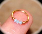Small Cartilage Earrings, Opalescent Beaded Nose Ring, Nose Hoop, Ear Cuff, Helix Hoop, Nose Rings Seamless Hoop Piercing Jewelry