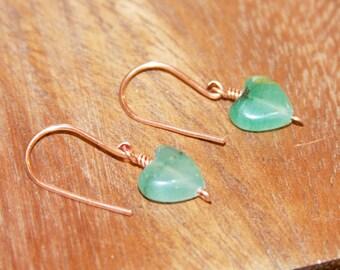 Small Dangle Earrings, Petite Green Drop Earrings, Itty Bitty Wire Wrapped Beaded Earrings, Simple Everyday Earrings, Handmade Earrings