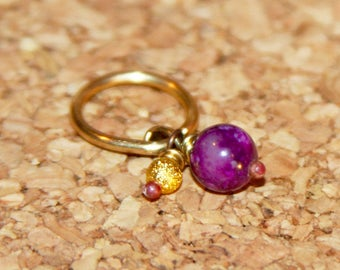 Belly Button Ring, Dainty Purple Beaded Belly Button Ring, Belly Button Jewelry, 18 16 14  gauge Belly Button Hoop, Gemstone Belly Ring