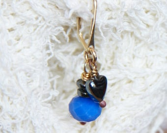 Belly Button Ring, Blue Crystal Belly Button ring, 18 gauge 16 gauge 14 gauge Belly Button Hoop, Heart Belly Button Ring