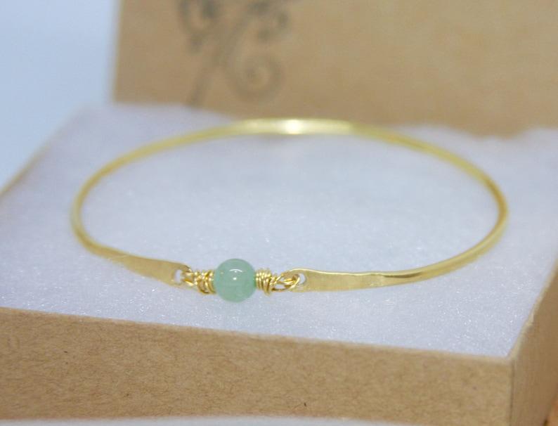 Thick Bangle Bracelet Gemstone Bracelet Gemstone Golden Brass Bangle Aventurine Bangle Bracelet Green Bangle Bracelet
