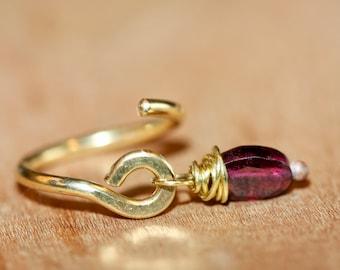 Belly Button Ring, Garnet Belly Hoop, Piercing Jewelry, Red Stone Ring, Gemstone Belly Ring, 18 16 14 Gauge Navel Ring, Navel Hoop