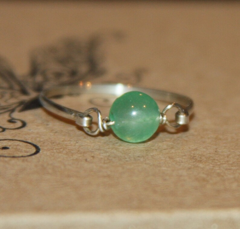 Jade Silver Ring Green Jade Ring Jade Ring Jade Promise Ring Jade Bridesmaid Gift Jade Stackable Ring Birch Bark Design