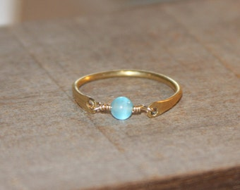 Blue Ring, Blue Stackable Thin Ring - Wire Wrapped Thin Ring, Beaded Ring, Blue Ring, Gift Women, Gifts For Her, Handmade