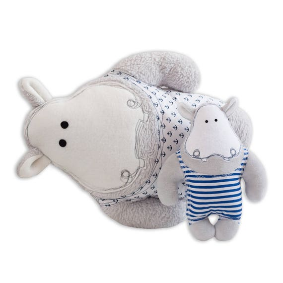 Stuffed Animal Sewing Pattern Large And Small Hippo Cushion Etsy