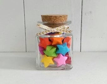 Square Jar of Multi-colored Origami Stars
