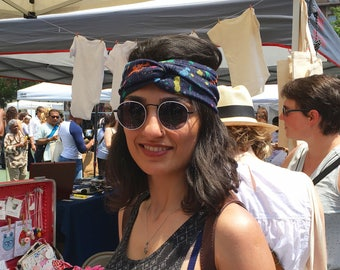 womens headband denim splatter paint-headbands for women-hair accessories-twisted turban-yoga headbands-hair accessories-Love Factory ny