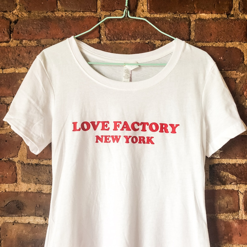 Love Factory New York Logo Ladies T Shirts White Etsy