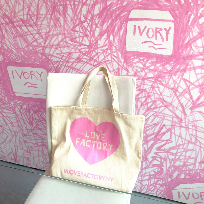 788ec22526 LOVE FACTORY New York pink heart logo graphic design canvas tote bag-market  tote-shopping tote-gift for her-back to school-silk screen