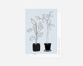 HOUSEPLANTS postcard / minimalist floral card