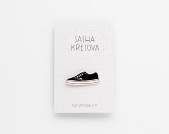 TENNIS SHOE Pin / Handmade Minimalist Badge / Shrink plastic brooch
