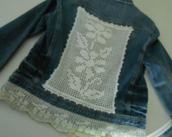 up cycled denim jean jacket doilies size medium for girls 10-12