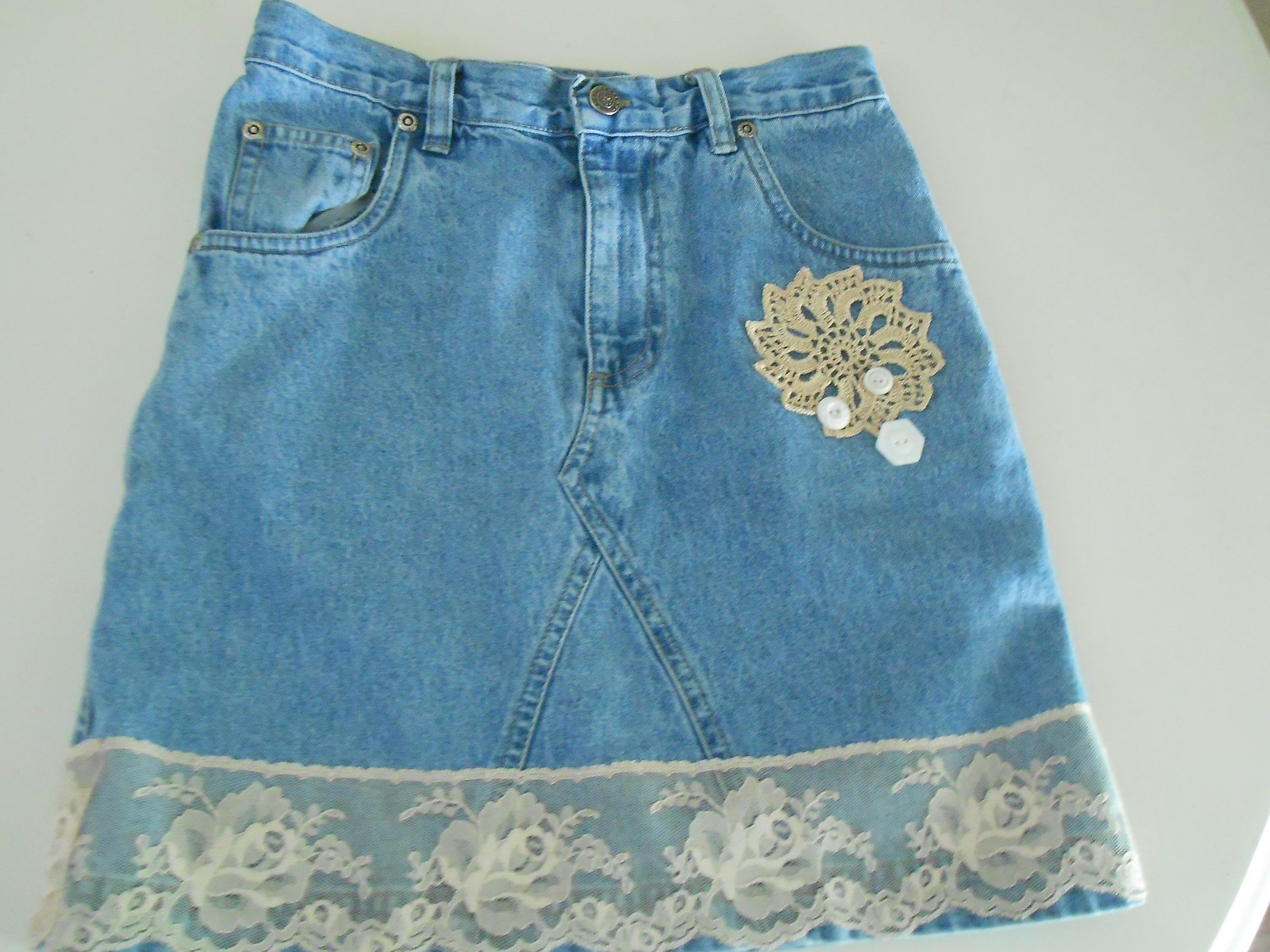 88e3a93ca0 up cycled denim jean skirt doilies for girls size 7-8 | Etsy