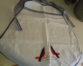 vintage birds apron red white blue