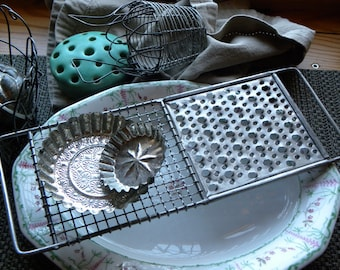 """Antique FRENCH Bakery Perforated Pierced Long 12 1/2"""" Handled Wire/w Zinc Appetizer Trivet, Photogenic Props, No Rust or Old Grease"""